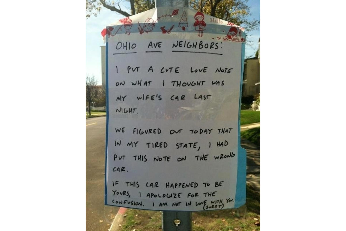 Sign About Love Note on Neighbor's Car